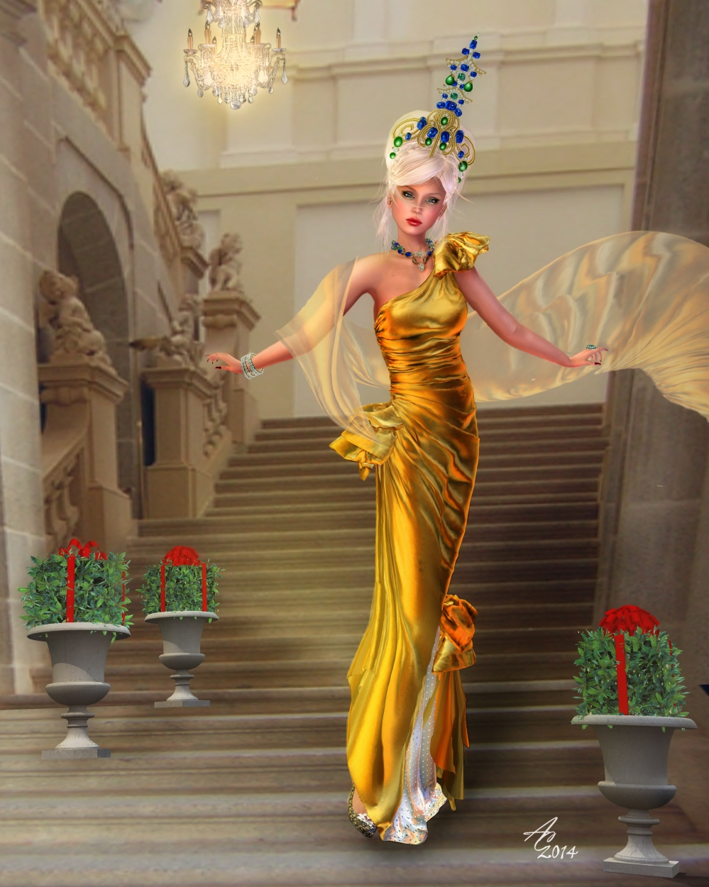 "The regal ""Pagoda"" headpiece from Chop Zuey is jaw-dropping with the fabulous texture changing ""Divine"" gown by  AlaFolie"